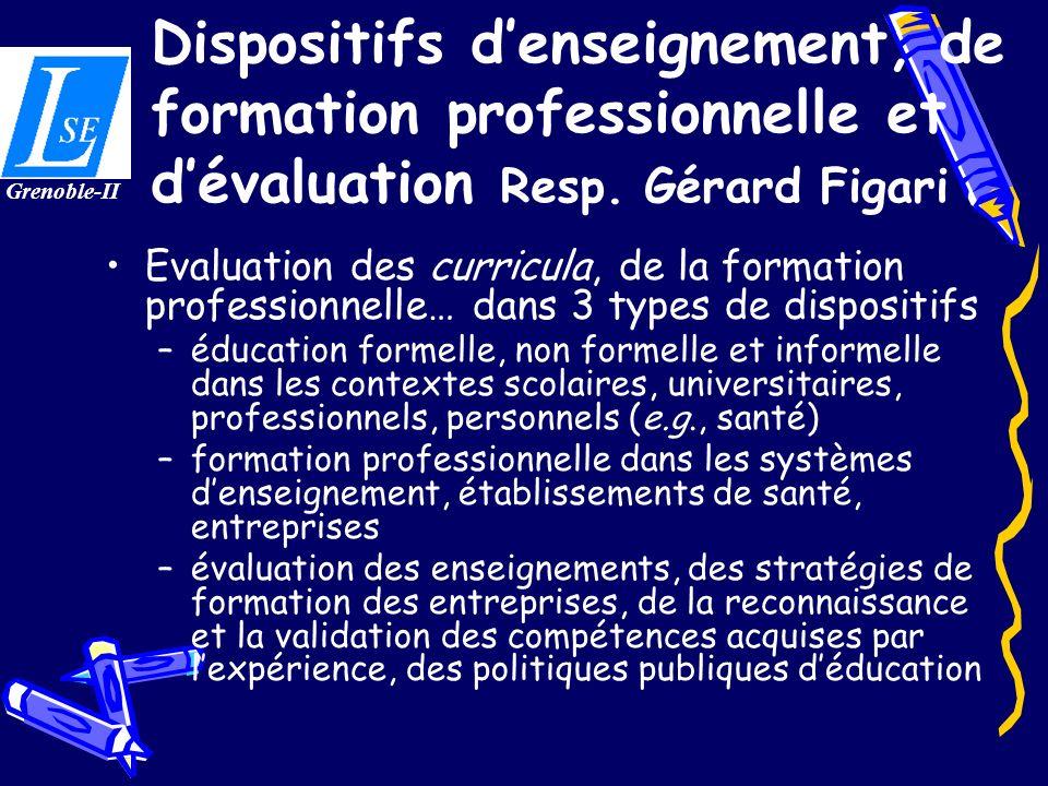 Dispositifs denseignement, de formation professionnelle et dévaluation Resp. Gérard Figari Evaluation des curricula, de la formation professionnelle…