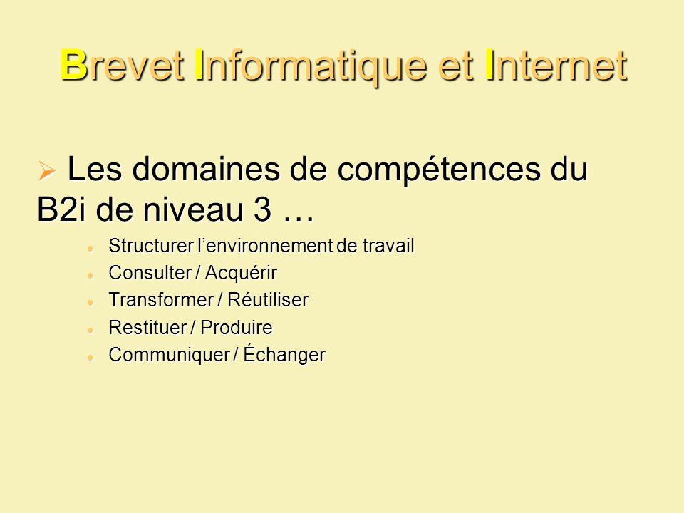 Brevet Informatique et Internet Les domaines de compétences du B2i de niveau 3 … Les domaines de compétences du B2i de niveau 3 … Structurer lenvironn