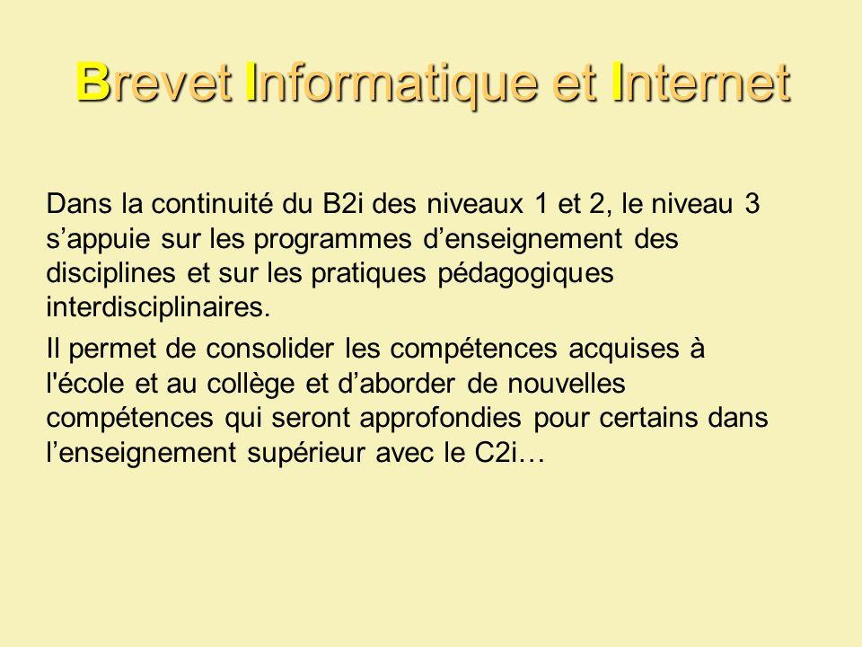 Brevet Informatique et Internet Dans la continuité du B2i des niveaux 1 et 2, le niveau 3 sappuie sur les programmes denseignement des disciplines et sur les pratiques pédagogiques interdisciplinaires.