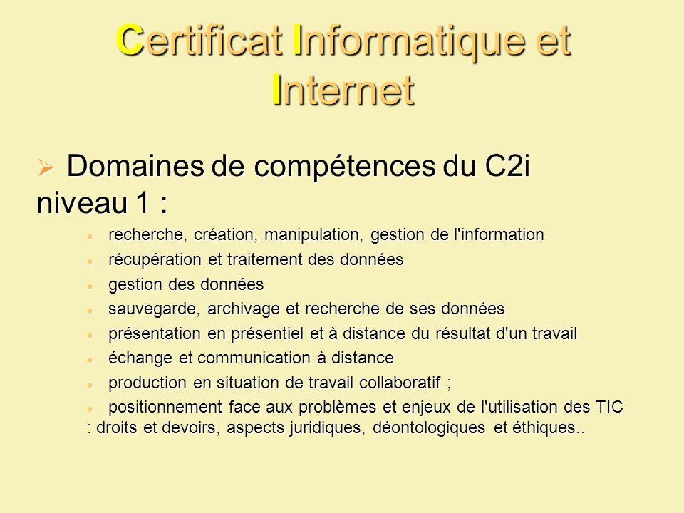 Certificat Informatique et Internet Domaines de compétences du C2i niveau 1 : Domaines de compétences du C2i niveau 1 : recherche, création, manipulat