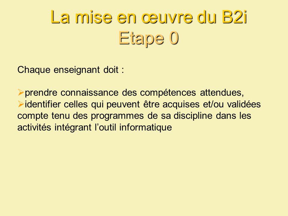 La mise en œuvre du B2i Etape 0 Chaque enseignant doit : prendre connaissance des compétences attendues, identifier celles qui peuvent être acquises et/ou validées compte tenu des programmes de sa discipline dans les activités intégrant loutil informatique
