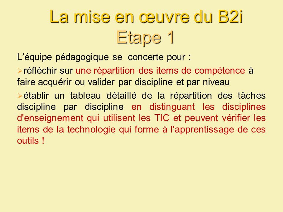 La mise en œuvre du B2i Etape 1 Léquipe pédagogique se concerte pour : réfléchir sur une répartition des items de compétence à faire acquérir ou valid