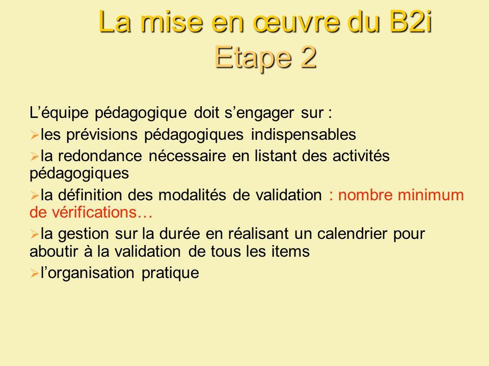 La mise en œuvre du B2i Etape 2 Léquipe pédagogique doit sengager sur : les prévisions pédagogiques indispensables la redondance nécessaire en listant