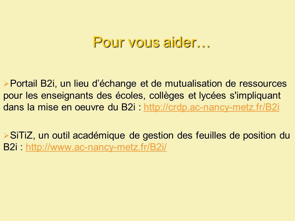 Pour vous aider… Portail B2i, un lieu déchange et de mutualisation de ressources pour les enseignants des écoles, collèges et lycées s impliquant dans la mise en oeuvre du B2i : http://crdp.ac-nancy-metz.fr/B2ihttp://crdp.ac-nancy-metz.fr/B2i SiTiZ, un outil académique de gestion des feuilles de position du B2i : http://www.ac-nancy-metz.fr/B2i/http://www.ac-nancy-metz.fr/B2i/