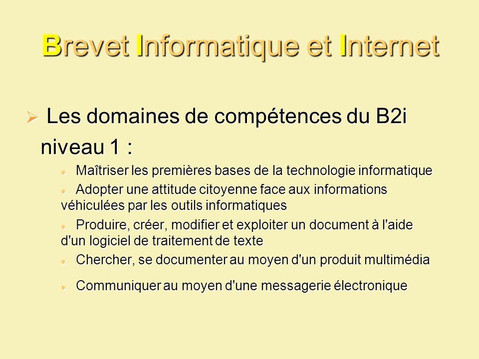 Brevet Informatique et Internet Les domaines de compétences du B2i Les domaines de compétences du B2i niveau 1 : Maîtriser les premières bases de la t