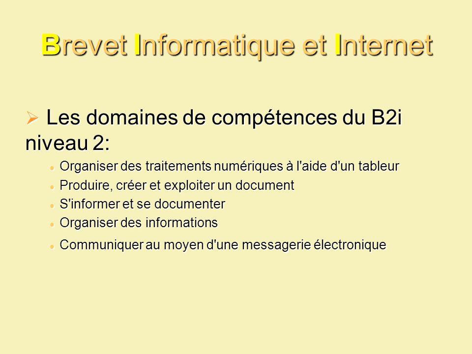 Brevet Informatique et Internet Les domaines de compétences du B2i niveau 2: Les domaines de compétences du B2i niveau 2: Organiser des traitements nu