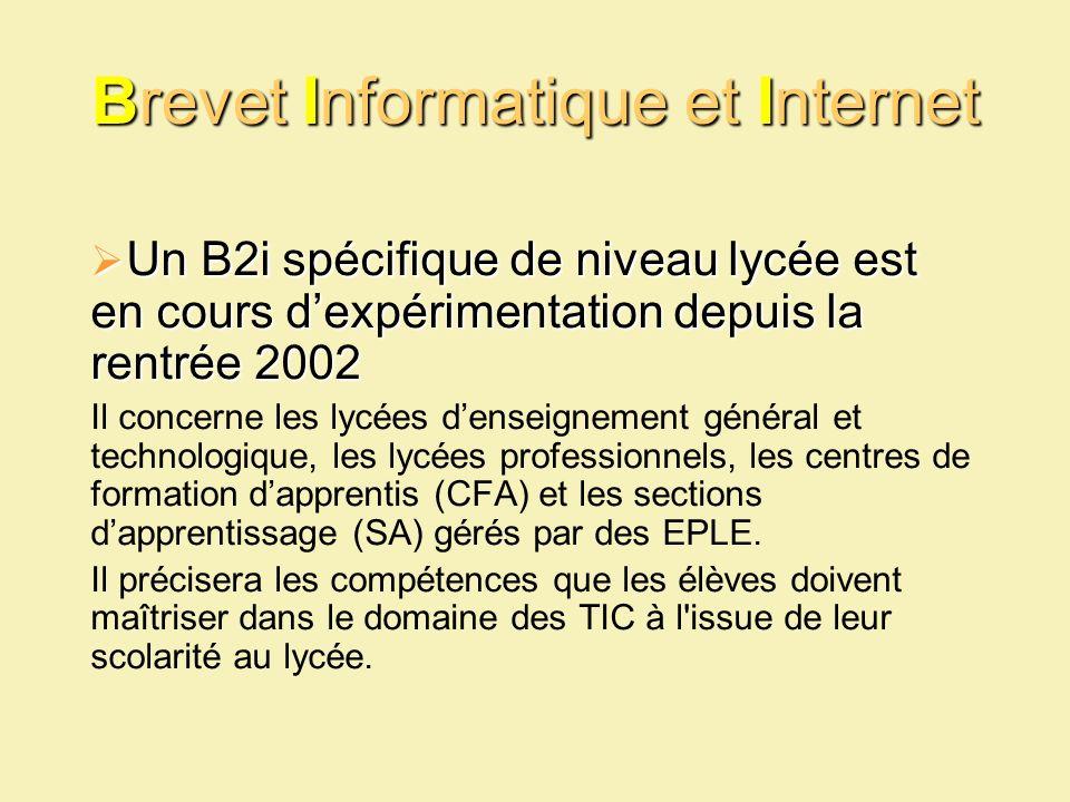Brevet Informatique et Internet Un B2i spécifique de niveau lycée est en cours dexpérimentation depuis la rentrée 2002 Un B2i spécifique de niveau lyc