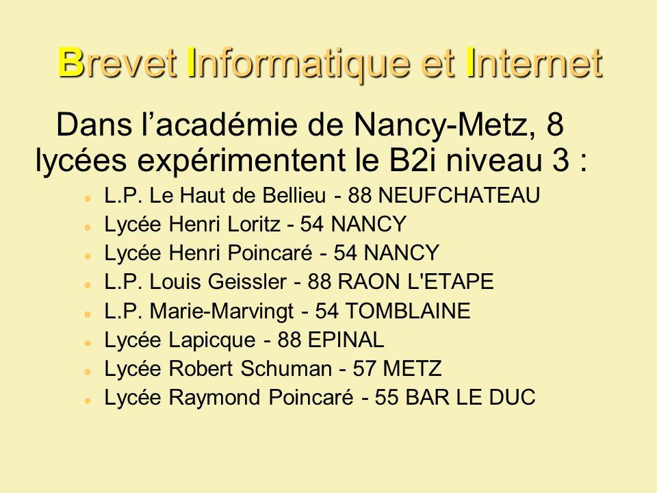 Brevet Informatique et Internet Dans lacadémie de Nancy-Metz, 8 lycées expérimentent le B2i niveau 3 : L.P. Le Haut de Bellieu - 88 NEUFCHATEAU Lycée