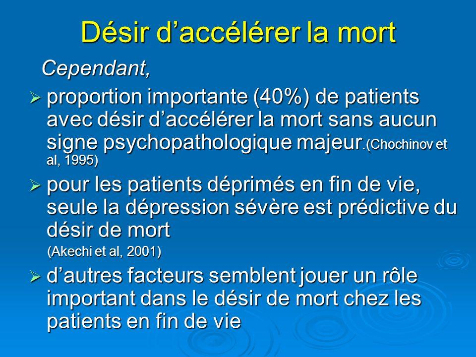 Désir daccélérer la mort Cependant, Cependant, proportion importante (40%) de patients avec désir daccélérer la mort sans aucun signe psychopathologiq