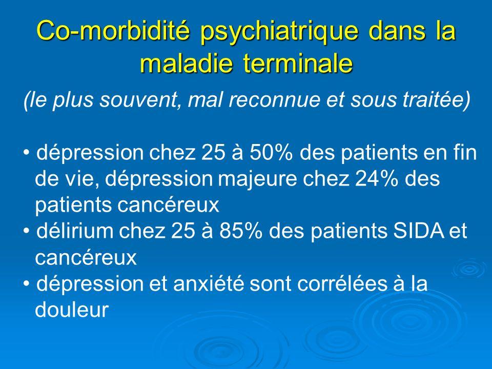 Co-morbidité psychiatrique dans la maladie terminale (le plus souvent, mal reconnue et sous traitée) dépression chez 25 à 50% des patients en fin de v