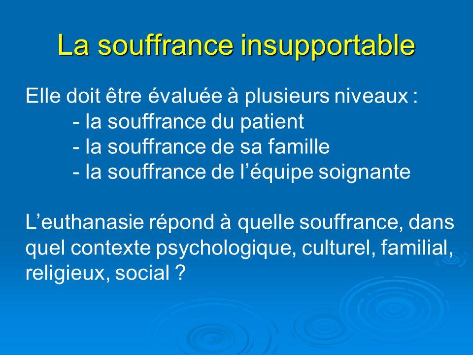 La souffrance insupportable Elle doit être évaluée à plusieurs niveaux : - la souffrance du patient - la souffrance de sa famille - la souffrance de l