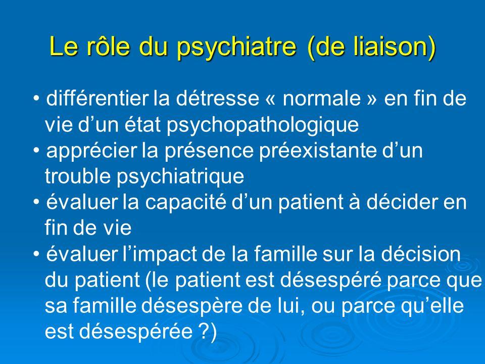 Le rôle du psychiatre (de liaison) différentier la détresse « normale » en fin de vie dun état psychopathologique apprécier la présence préexistante d