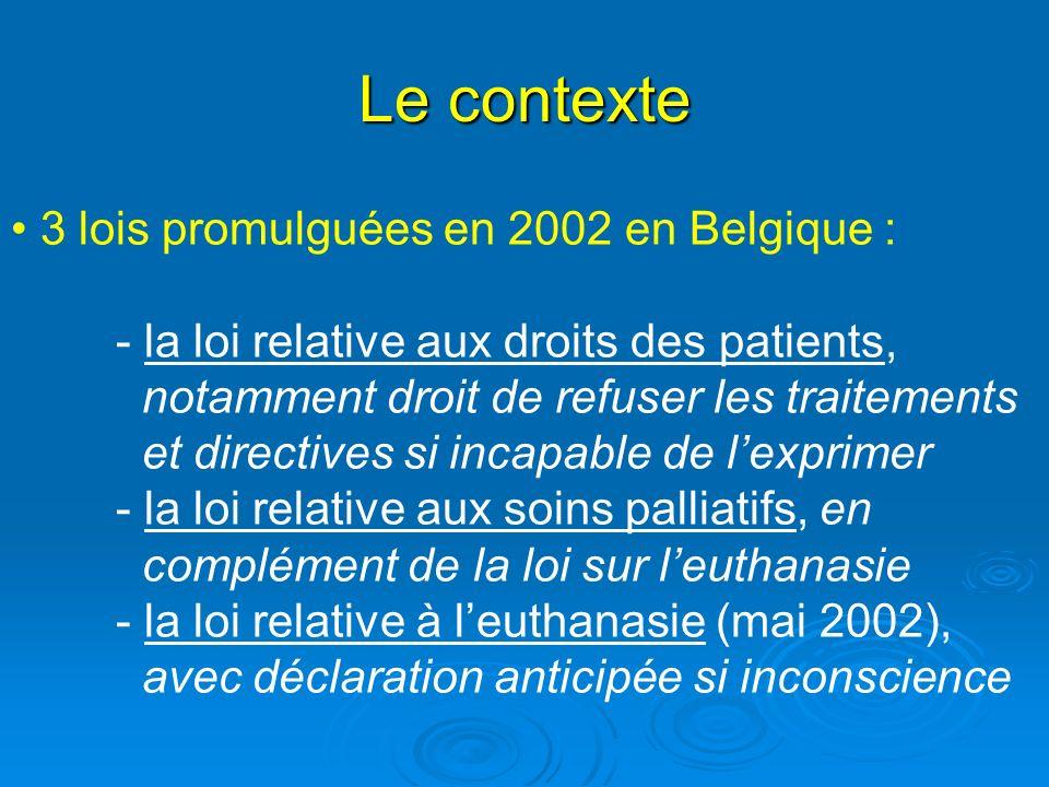 Le contexte 3 lois promulguées en 2002 en Belgique : - la loi relative aux droits des patients, notamment droit de refuser les traitements et directiv