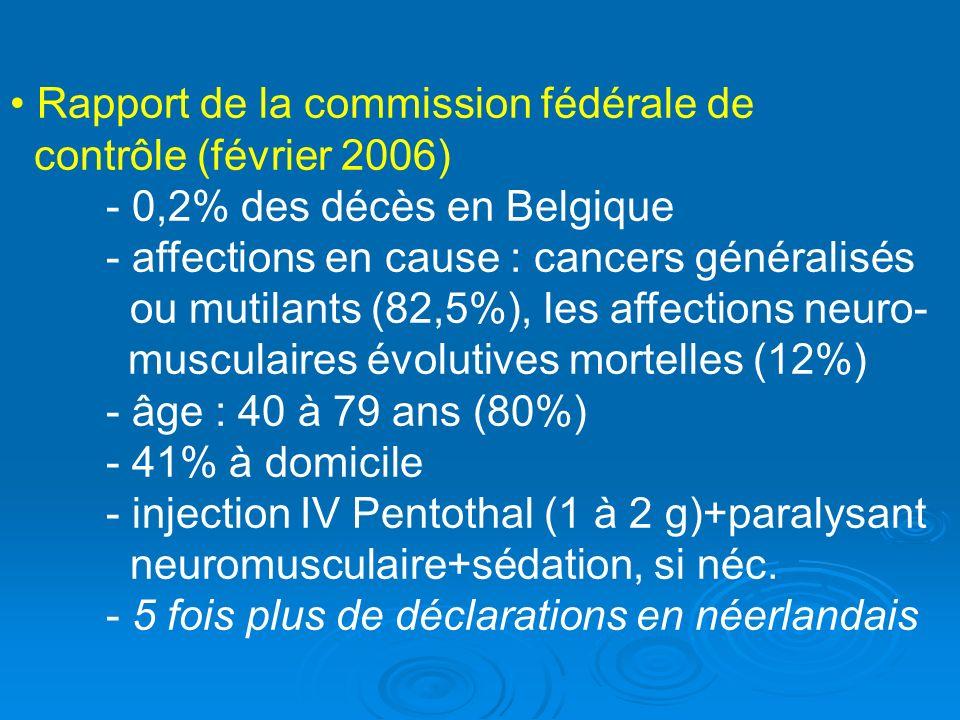 Rapport de la commission fédérale de contrôle (février 2006) - 0,2% des décès en Belgique - affections en cause : cancers généralisés ou mutilants (82