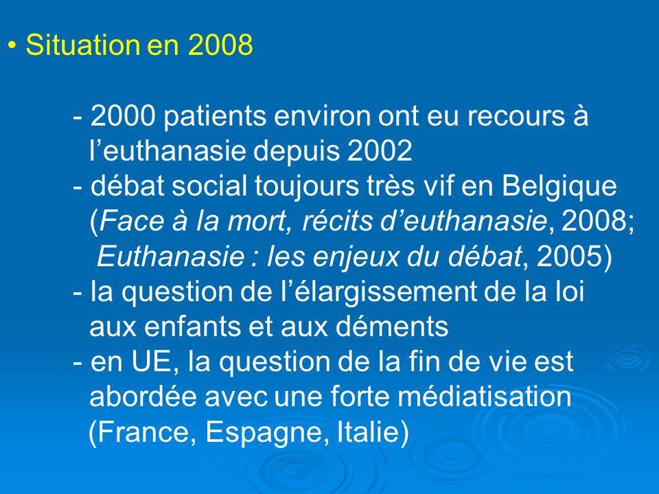 Situation en 2008 - 2000 patients environ ont eu recours à leuthanasie depuis 2002 - débat social toujours très vif en Belgique (Face à la mort, récit