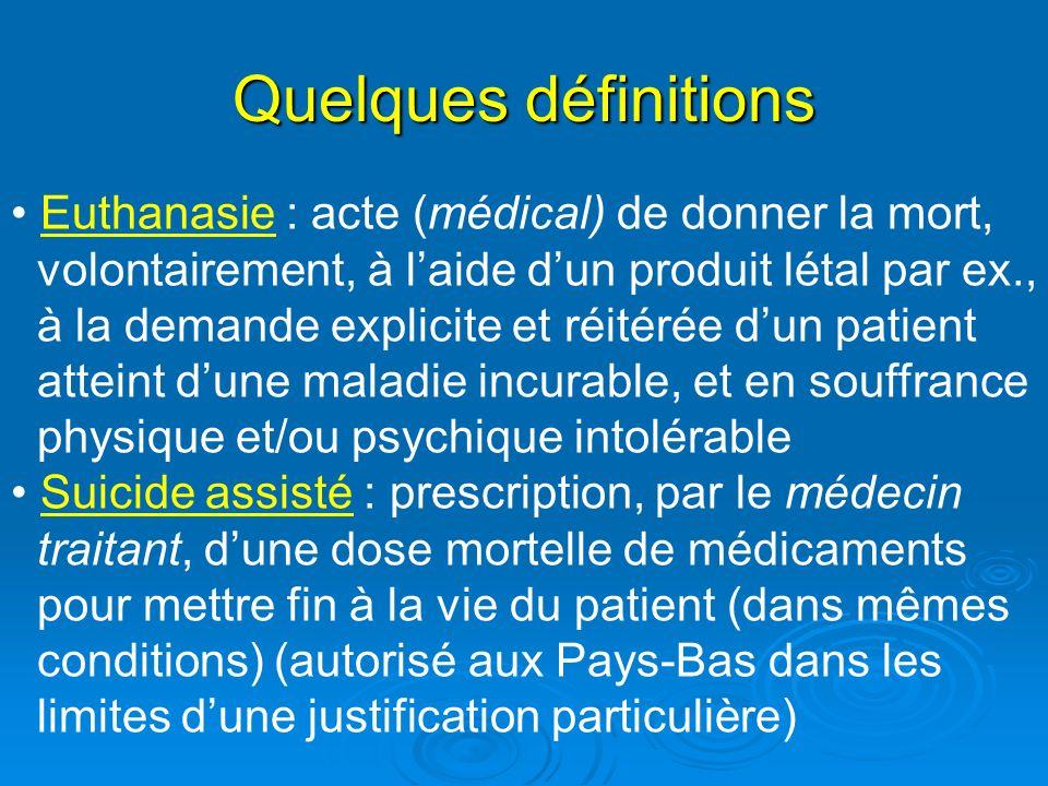 Quelques définitions Euthanasie : acte (médical) de donner la mort, volontairement, à laide dun produit létal par ex., à la demande explicite et réité