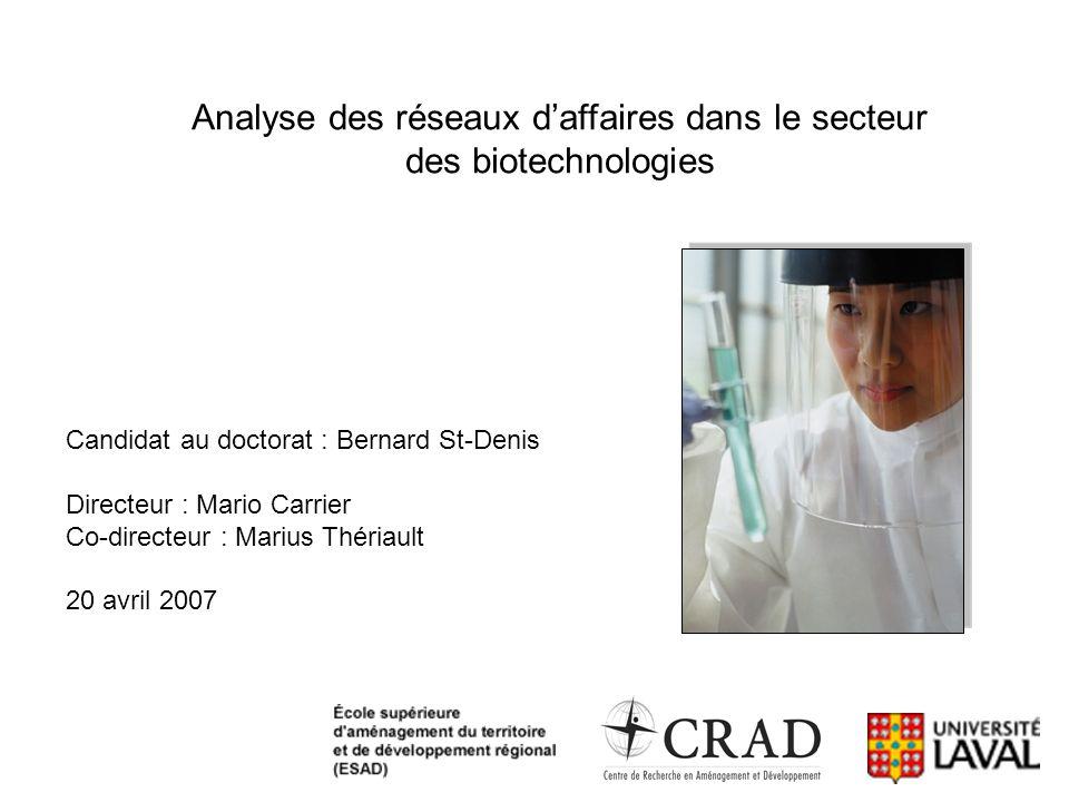 Analyse des réseaux daffaires dans le secteur des biotechnologies Candidat au doctorat : Bernard St-Denis Directeur : Mario Carrier Co-directeur : Mar
