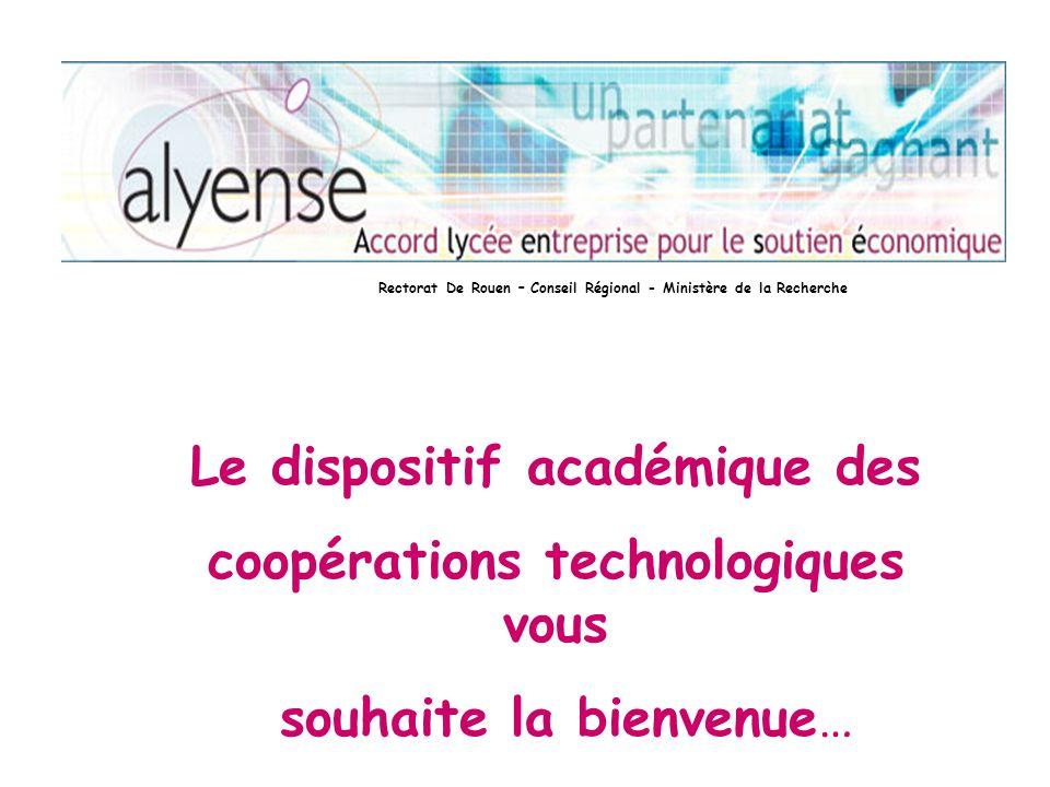 Le dispositif académique des coopérations technologiques vous souhaite la bienvenue… Rectorat De Rouen – Conseil Régional - Ministère de la Recherche
