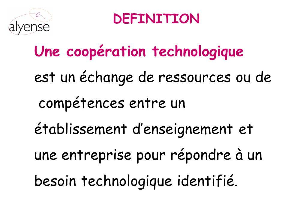 Une coopération technologique est un échange de ressources ou de compétences entre un établissement denseignement et une entreprise pour répondre à un besoin technologique identifié.