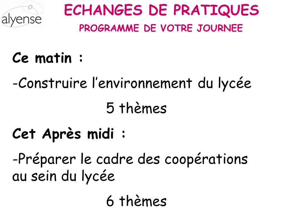 ECHANGES DE PRATIQUES Ce matin : -Construire lenvironnement du lycée 5 thèmes Cet Après midi : -Préparer le cadre des coopérations au sein du lycée 6