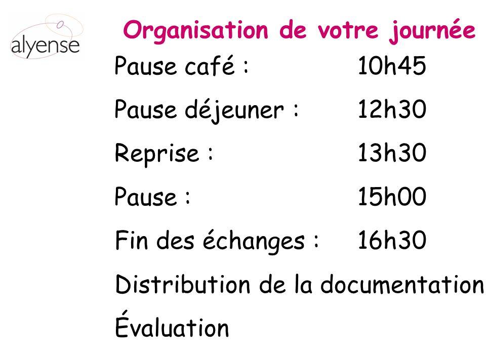 Pause café : 10h45 Pause déjeuner : 12h30 Reprise : 13h30 Pause : 15h00 Fin des échanges : 16h30 Distribution de la documentation Évaluation Organisation de votre journée