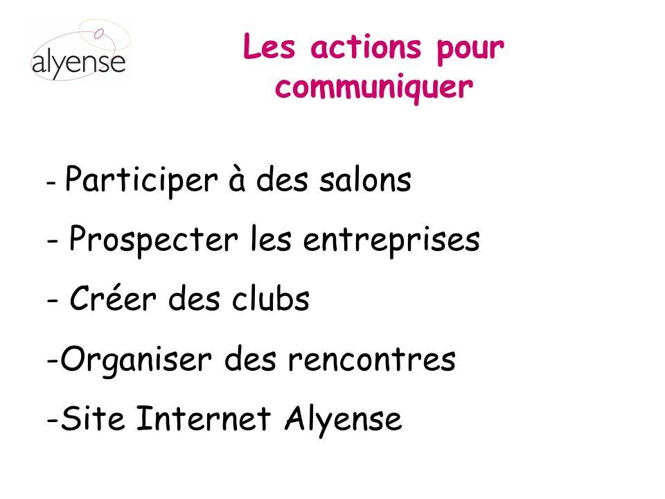 Les actions pour communiquer - Participer à des salons - Prospecter les entreprises - Créer des clubs -Organiser des rencontres -Site Internet Alyense