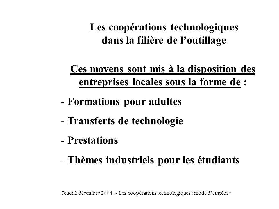 Les coopérations technologiques dans la filière de loutillage Ces moyens sont mis à la disposition des entreprises locales sous la forme de : - Formations pour adultes - Transferts de technologie - Prestations - Thèmes industriels pour les étudiants Jeudi 2 décembre 2004 « Les coopérations technologiques : mode demploi »