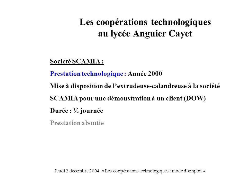 Les coopérations technologiques au lycée Anguier Cayet Société SCAMIA : Prestation technologique : Année 2000 Mise à disposition de lextrudeuse-caland