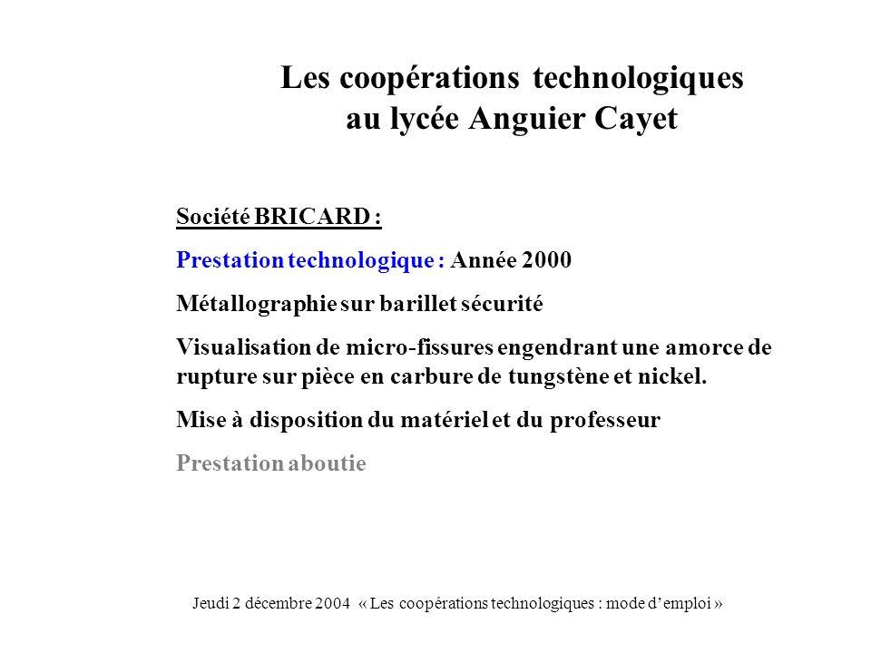 Les coopérations technologiques au lycée Anguier Cayet Société BRICARD : Prestation technologique : Année 2000 Métallographie sur barillet sécurité Vi