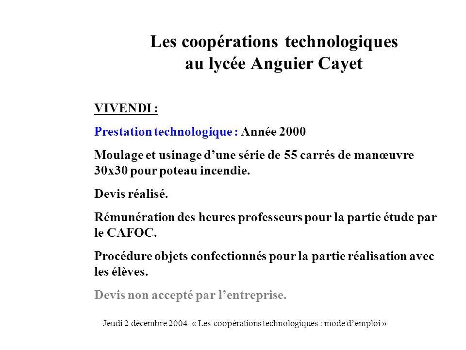 Les coopérations technologiques au lycée Anguier Cayet VIVENDI : Prestation technologique : Année 2000 Moulage et usinage dune série de 55 carrés de manœuvre 30x30 pour poteau incendie.