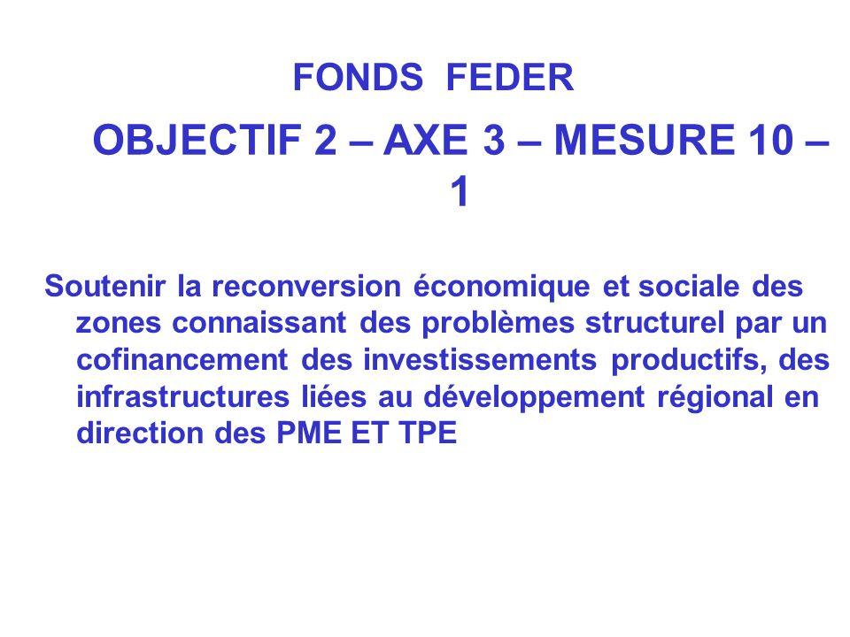 OBJECTIF 2 – AXE 3 – MESURE 10 – 1 Soutenir la reconversion économique et sociale des zones connaissant des problèmes structurel par un cofinancement des investissements productifs, des infrastructures liées au développement régional en direction des PME ET TPE FONDS FEDER