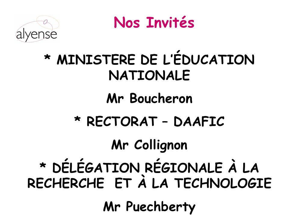 Nos Invités * MINISTERE DE LÉDUCATION NATIONALE Mr Boucheron * RECTORAT – DAAFIC Mr Collignon * DÉLÉGATION RÉGIONALE À LA RECHERCHE ET À LA TECHNOLOGI