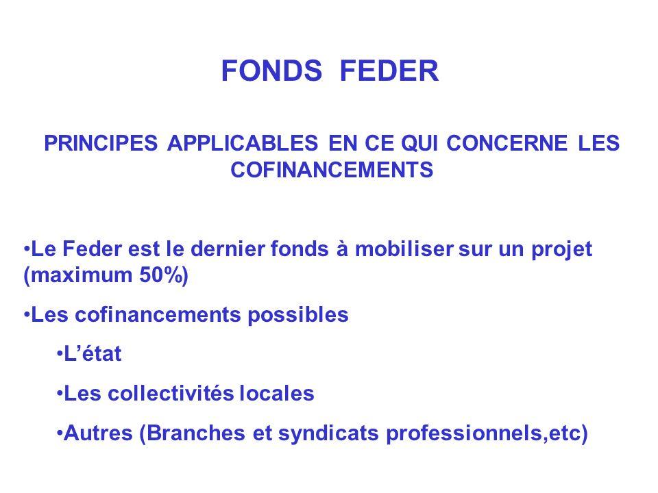 PRINCIPES APPLICABLES EN CE QUI CONCERNE LES COFINANCEMENTS Le Feder est le dernier fonds à mobiliser sur un projet (maximum 50%) Les cofinancements possibles Létat Les collectivités locales Autres (Branches et syndicats professionnels,etc) FONDS FEDER