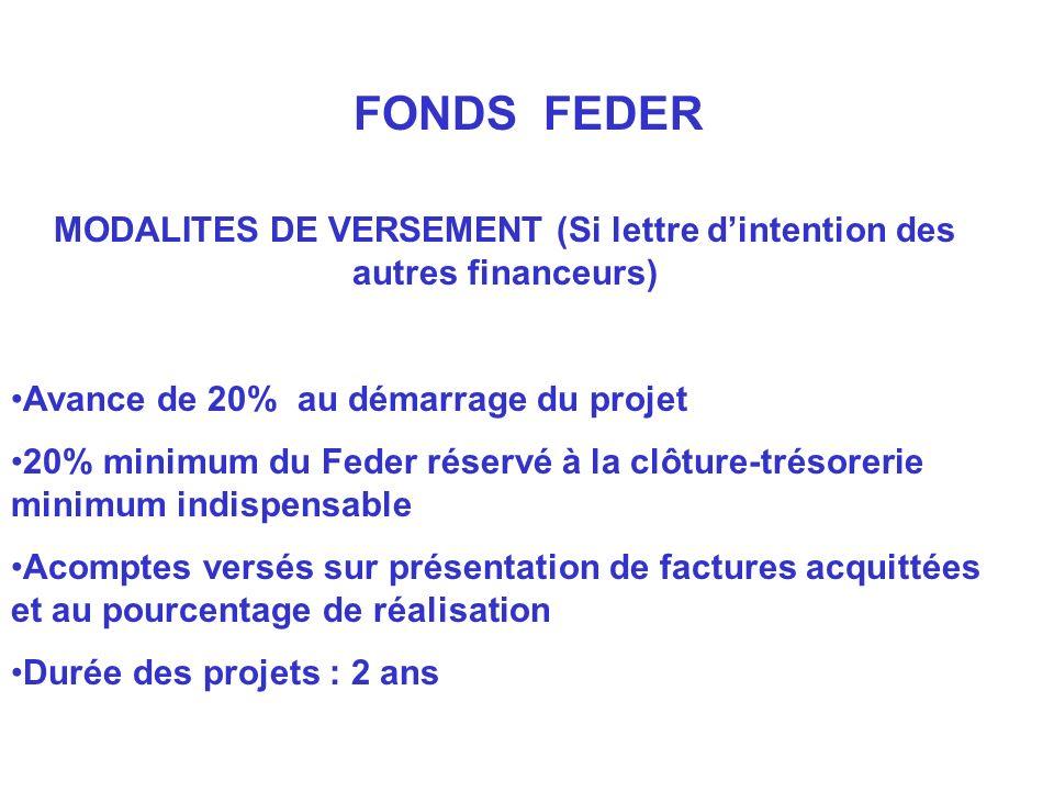 MODALITES DE VERSEMENT (Si lettre dintention des autres financeurs) Avance de 20% au démarrage du projet 20% minimum du Feder réservé à la clôture-tré
