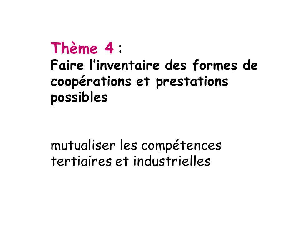 Thème 4 : Faire linventaire des formes de coopérations et prestations possibles mutualiser les compétences tertiaires et industrielles