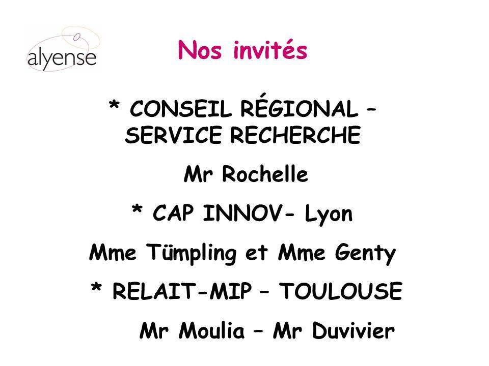 * CONSEIL RÉGIONAL – SERVICE RECHERCHE Mr Rochelle * CAP INNOV- Lyon Mme Tümpling et Mme Genty * RELAIT-MIP – TOULOUSE Mr Moulia – Mr Duvivier Nos invités