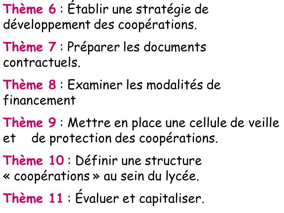 Thème 6 : Établir une stratégie de développement des coopérations. Thème 7 : Préparer les documents contractuels. Thème 8 : Examiner les modalités de