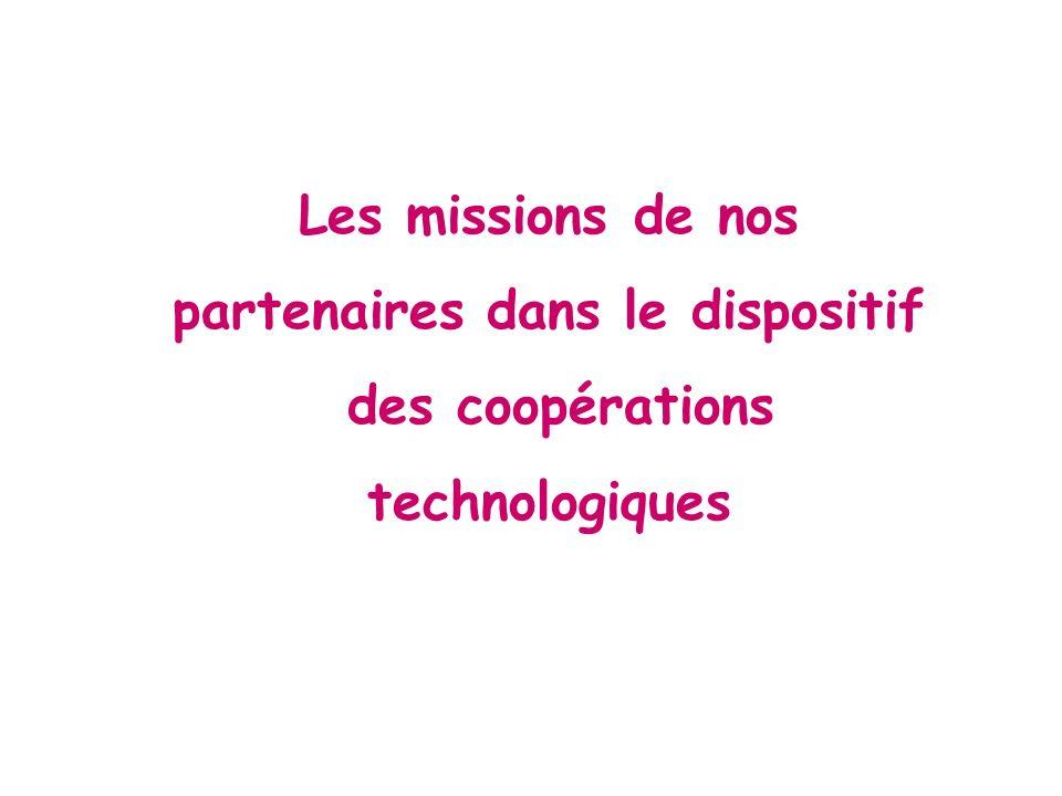Les missions de nos partenaires dans le dispositif des coopérations technologiques