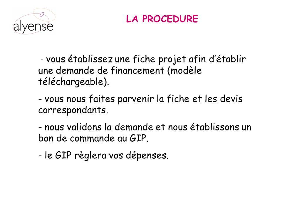 LA PROCEDURE - vous établissez une fiche projet afin détablir une demande de financement (modèle téléchargeable).