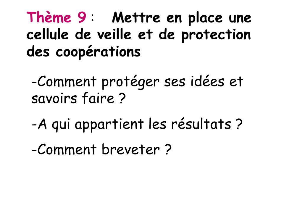 Thème 9 : Mettre en place une cellule de veille et de protection des coopérations -Comment protéger ses idées et savoirs faire ? -A qui appartient les