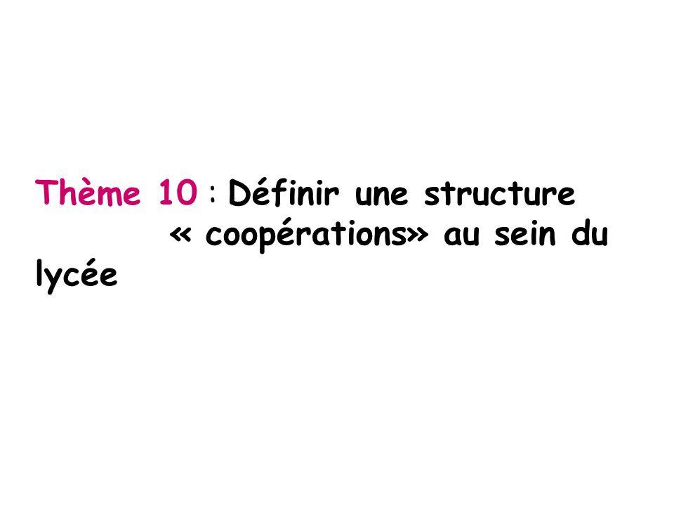 Thème 10 : Définir une structure « coopérations» au sein du lycée