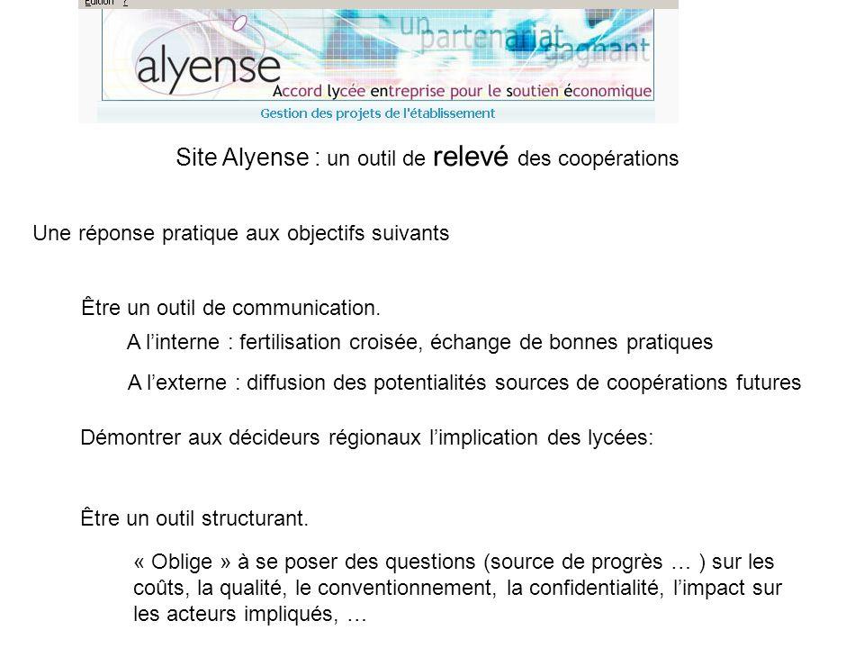 Démontrer aux décideurs régionaux limplication des lycées: Site Alyense : un outil de relevé des coopérations Une réponse pratique aux objectifs suiva