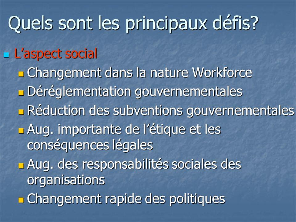 Quels sont les principaux défis? Laspect social Laspect social Changement dans la nature Workforce Changement dans la nature Workforce Déréglementatio