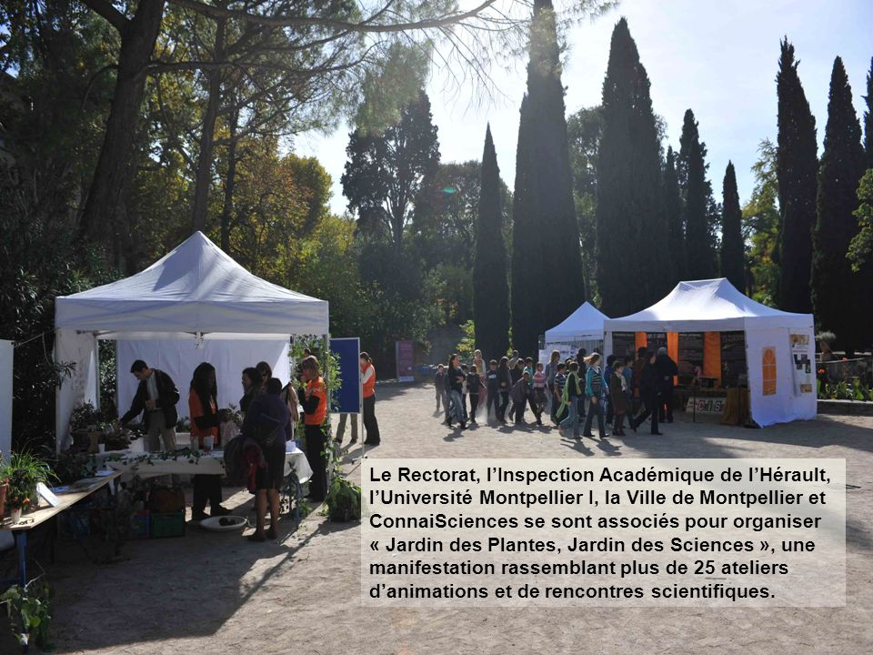 Le Rectorat, lInspection Académique de lHérault, lUniversité Montpellier I, la Ville de Montpellier et ConnaiSciences se sont associés pour organiser