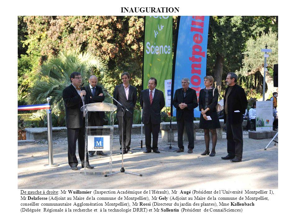 INAUGURATION De gauche à droite: Mr Wuillamier (Inspection Académique de lHérault), Mr Augé (Président de lUniversité Montpellier I), Mr Delafosse (Ad
