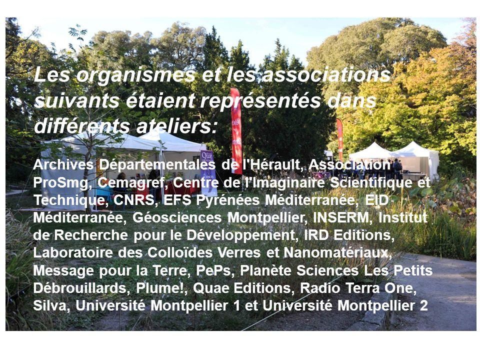 Les organismes et les associations suivants étaient représentés dans différents ateliers: Archives Départementales de l'Hérault, Association ProSmg, C
