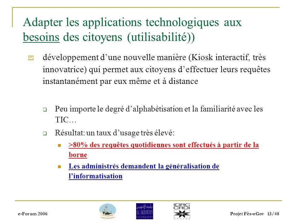 e-Forum 2006Projet Fès-eGov 12/48 Acceptabilité du system e-gouvernement Le projet e-Fès était conscient dés le début que legov vise lutilisation des TIC pour réaliser des bénéfices sociaux…….