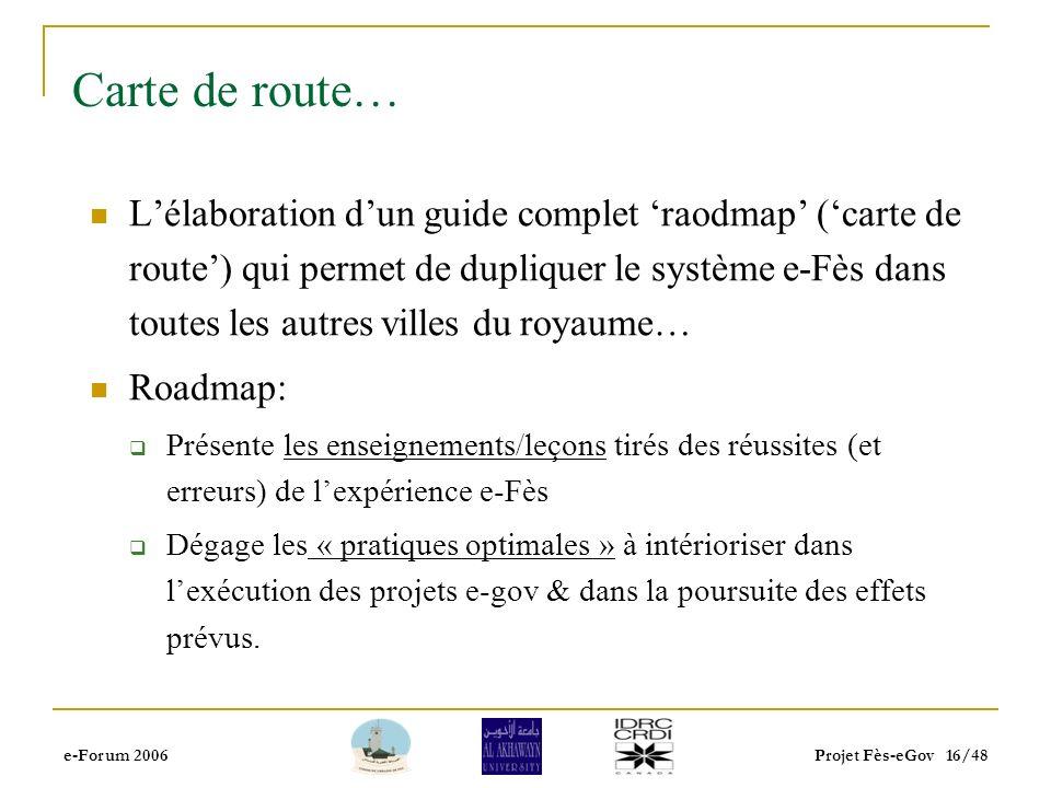e-Forum 2006Projet Fès-eGov 15/48 Lévaluation des effets/impacts du e-gov Lobjectif: Mesurer et communiquer les effets de e-Fès afin de mieux convainc