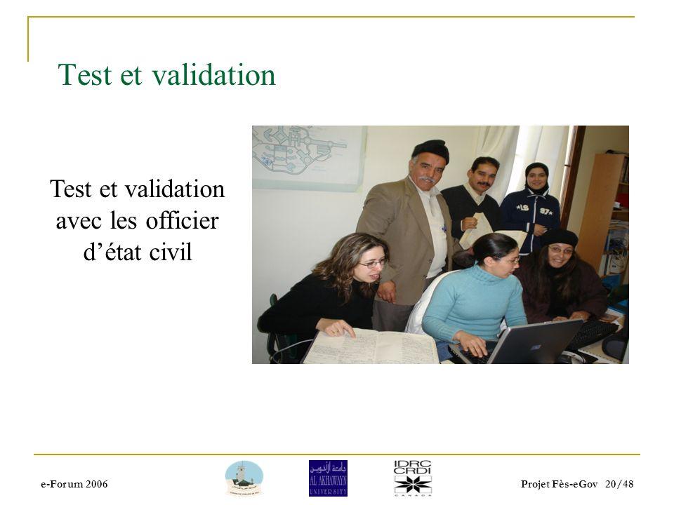e-Forum 2006Projet Fès-eGov 19/48 Informatisation de létat civil Évaluation et analyse du système existant (nécessité dune application de saisie de do