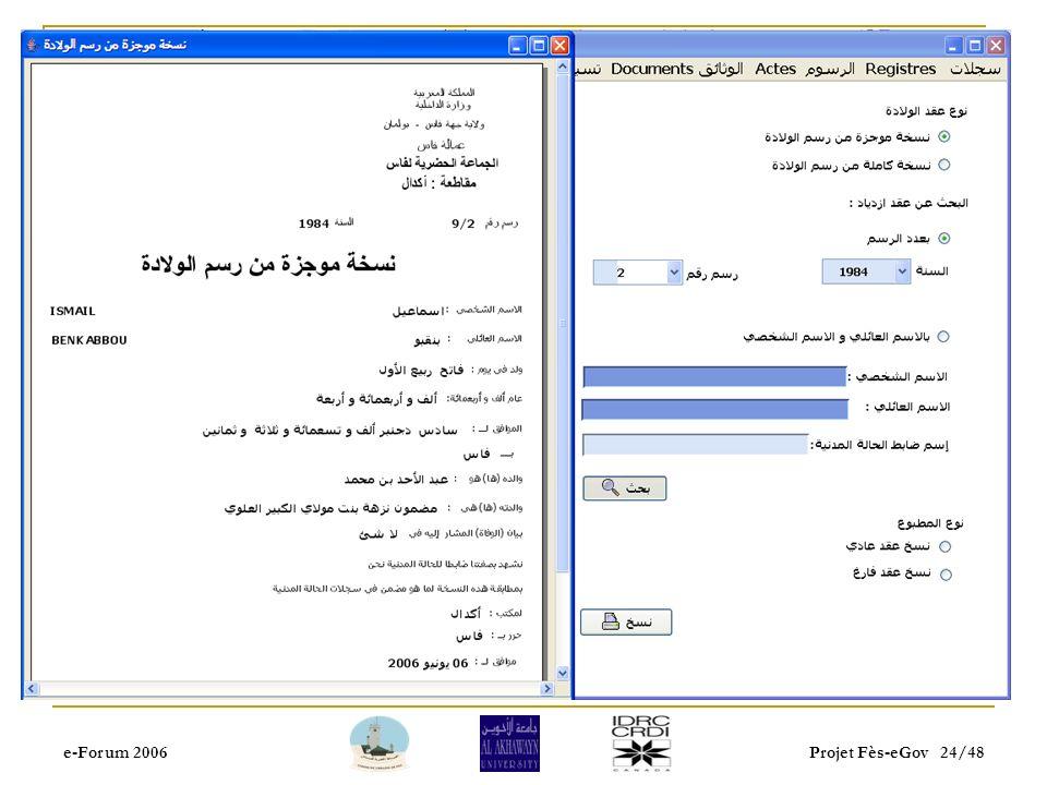 e-Forum 2006Projet Fès-eGov 23/48
